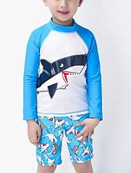 Menino de Roupa de Banho,Praia Estampado Náilon Verão Azul