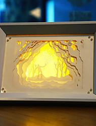 nous branchons papier créatif conduit sculpture 3d décoratif forestier de lumière de nuit de noël