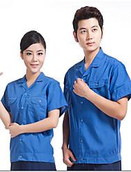 algodão lavado manga curta roupas camisa de verão lavada proteção casaco de algodão