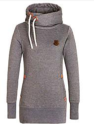 solides hoodies rouge / gris / jaune des femmes, occasionnel / jour à manches longues à capuche