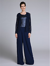 LAN TING BRIDE Sheath / Column Mother of the Bride Dress - Sparkle & Shine Floor-length Long Sleeve Chiffon Lace with Sequins