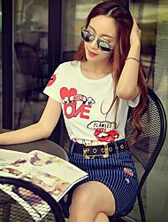 Rosa Doll® Damen Rundhalsausschnitt Kurze Ärmel T-Shirt Weiß-X15BTS096