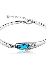 Elegant  Austrian Crystals Blue Gem Sterling Silver Bracelets