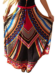 Women's Plaid Blue / Red / Orange Skirts , Boho / Beach Maxi