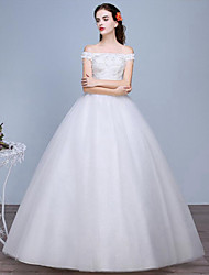 Princess Wedding Dress Floor-length Off-the-shoulder Lace / Tulle with Lace