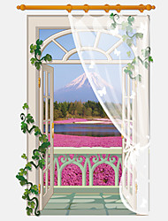 3D False Window Red Flower Mount Fuji Wall Stickers Creative Fashion Bathroom Kitchen Living Room Wall Decals