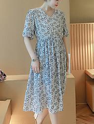 Ample Robe Maternité Décontracté / Quotidien simple,Fleur Col Arrondi Midi ½ Manches Bleu / Rose / Blanc Coton Printemps / Eté