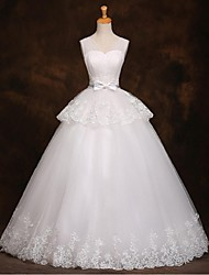 A-line Wedding Dress Floor-length Straps Tulle with Bow