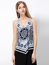 Herz Soul® Damen Gurt Ärmellos T-Shirt Blau / Orange-11AA28050