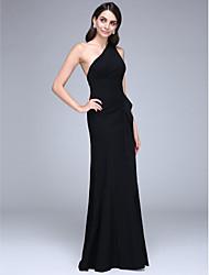 2017 formal de bainha de vestido de noite / coluna de um ombro cetim andar de comprimento com babados