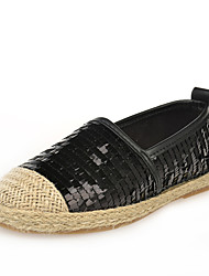 Women's Fall Comfort Leatherette Outdoor / Casual Low Heel Sequin / Slip-on Black / Silver