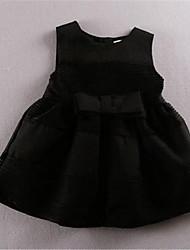 Vestido Chica de-Casual/Diario-Un Color-Algodón-Verano-Negro
