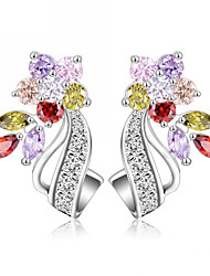 New Hot Flower Stud Earrings Multicolor Clear AAA Zirconia Stone Wedding Bride Jewelry