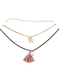 Women's Choker Necklaces Pendant Necklaces Pearl Fabric Alloy Tassels Fashion Vintage Adjustable Adorable Pink JewelryWedding Party Daily