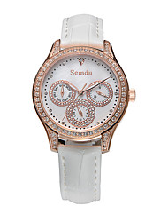 Semdu® Fashion Vintage Leather Women Lady Rhinestone Waterproof 24 Hours Indicated and Calendar Function Watch