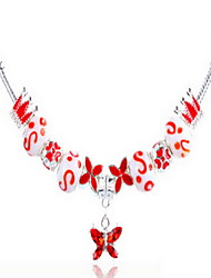Red DIY Beads Strand Necklace with Flower Print Butterfly Pendant Fine Jewelry