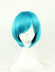 europa e os estados unidos uma cor cosseno peruca bobo azul de 10 polegadas de alta temperatura peruca de seda reta cabelo curto
