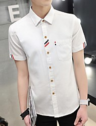 Men's Short Sleeve Shirt,Cotton Casual Striped