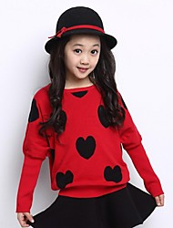 Girl's Casual/Daily Solid Sweater & Cardigan,Polyester Winter / Spring / Fall Black / Red