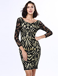 Women's Victorian Net Nude Illusion Long Sleeves Dress