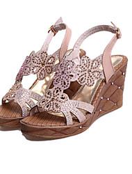 Women's Shoes Heel Wedges / Heels / Peep Toe / Platform Sandals / Heels Outdoor / Dress / Casual Black / Almond