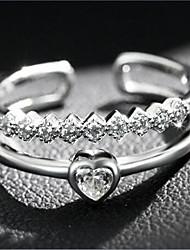 Femme Anneaux Amour Cœur Ouvert Bijoux de Luxe bijoux de fantaisie Mode Ajustable Couche double Argent sterling Zircon Imitation Diamant