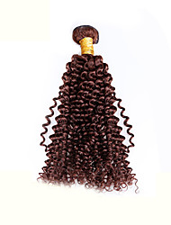 "1 Pcs Lot 8""-30"" Brazilian Kinky Curl Virgin Hair Wefts Chocolate Brown 4# Human Hair Weave Wavy Bundles Tangle Free"