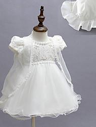 малыш Платье,Вечеринка/коктейль,Цветочный принт,Полиэстер,Все сезоны,Белый