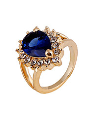Gorgeous Rhinestone Embellished Faux Gem Alloy Ring For Women Teardrop Ring Vampire Kate