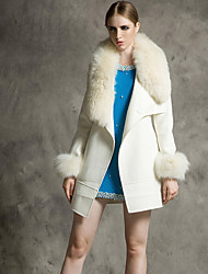 Women's Going out Cute Coat,Solid / Patchwork Shirt Collar Long Sleeve Winter White Wool Thick