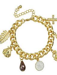 Cross/Leaf Shape Pendant Charm Chain Bracelet