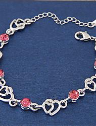 Women's European Style Fashion Sweet Shiny Rhinestone Heart to Heart Bracelet