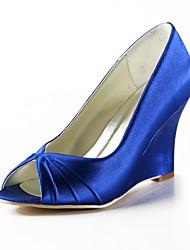 Women's Shoes Silk Wedge Heel Heels / Peep Toe Heels Wedding / Party & Evening / Dress Yellow / Pink / Purple / White