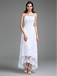 Lanting Bride Sheath / Column Wedding Dress Asymmetrical Strapless Lace with Lace