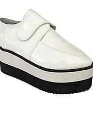 Sapatos Punk Lolita Salto Plataforma Sapatos Patchwork 8 CM Branco Para Feminino Pele