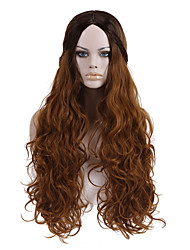 Top Quality Ombre Black Light Brown Color Wig 24inch Long Wavy Synthetic Wigs
