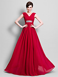 A-line Plus Size / Petite Mother of the Bride Dress Floor-length Sleeveless Chiffon with Beading / Side Draping