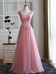 Formal Evening Dress A-line Straps Floor-length Tulle with Appliques
