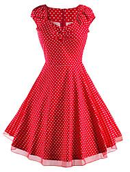 Mulheres Bainha Vestido,Happy-Hour / Casual Vintage / Moda de Rua Poá Decote Princesa Altura dos Joelhos Manga Curta Vermelho / Branco