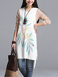 Women's Casual/Daily Street chic Loose Thin Sweater Dress,Print Above Knee Sleeveless Blue / White / Orange Fall