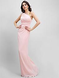2017 ts couture® chiffon formal de alças bainha de vestido de noite / Coluna Andar de comprimento, com drapeados lado
