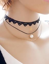 Sexy Cute Punk Black Lace Fabric Tatoo Choker Neckace Three Layered with Pearl /Cross Pendant