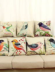 Decorative Pillow Case Cotton Magpie Pattern