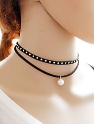 Ожерелье Ожерелья-бархатки Татуировка Choker Бижутерия Повседневные Тату-дизайн Сексуальные платья Мода Кружево Ткань 1шт ПодарокЧерный и