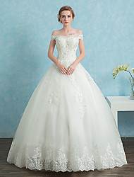Ball Gown Wedding Dress Floor-length Off-the-shoulder Lace / Satin / Tulle with Beading / Lace / Sequin