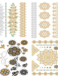 4 Tattoo Aufkleber Blumen Serie Non Toxic / Waterproof / Metallic / HochzeitDamen / Herren / Erwachsener / Teen Flash-TattooTemporary