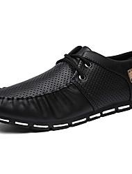 Sapatos Masculinos Tamancos e Mules Preto / Branco / Preto e Branco Couro Escritório & Trabalho / Casual / Festas & Noite