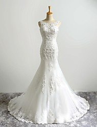 Trumpet / Mermaid Wedding Dress Vintage Inspired Sweep / Brush Train Scoop Tulle with Appliques Beading