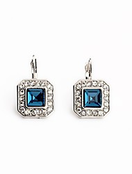 European Style Luxury Gem Earrings Geometric Pastoral style Square Stud Earrings for Women Fashion Jewelry
