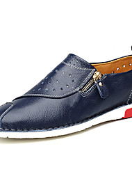 Men's Oxfords Spring Fall Cowhide Casual Flat Heel Chain Others Black Blue Brown Walking